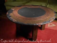 slate coffee table designed and created by heartworks