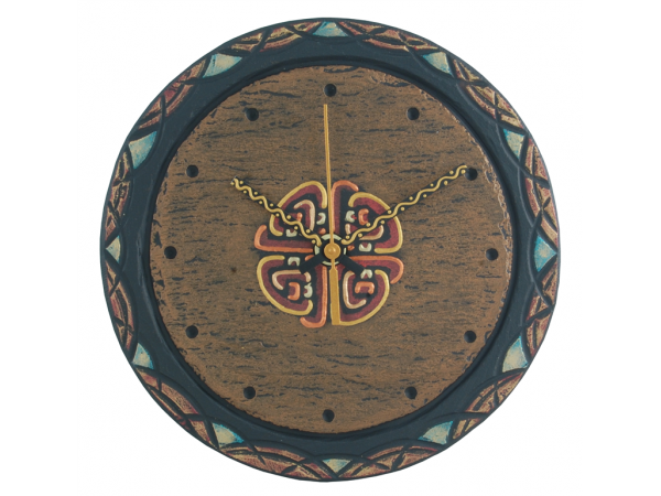 "Slate Round Clock 7½"" Celtic border with Celtic Knot"