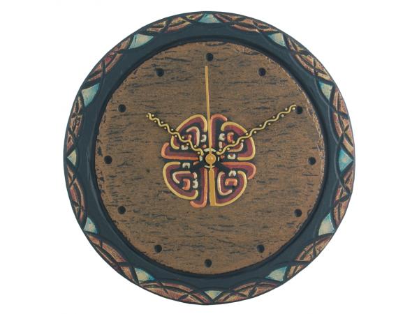 "Slate Round Clock 7½"" Celtic border with Celtic Knot"