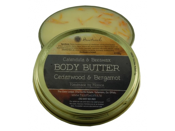 All Natural Body Butter with Calendula and Beeswax Cedarwood and Bergamot