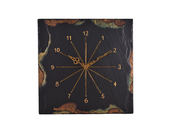 "Square 7½"" Clock Gold/Green Edge with Numericals"