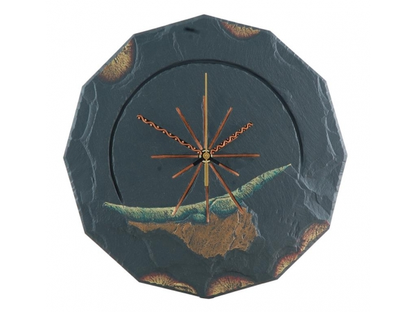 """Slate round clock gold edge with green 11½"""""""