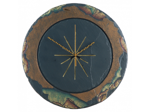 Slate round clock gold edge with green/gold border 11½""