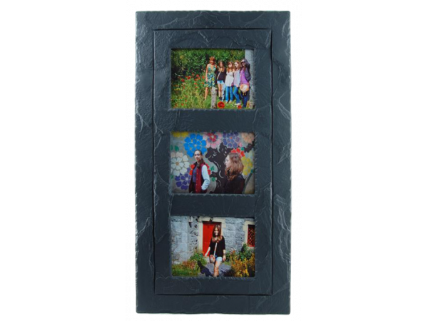 "Slate Triple Photo Frame 7""x5"" Landscape in Portrait with Inside Band"