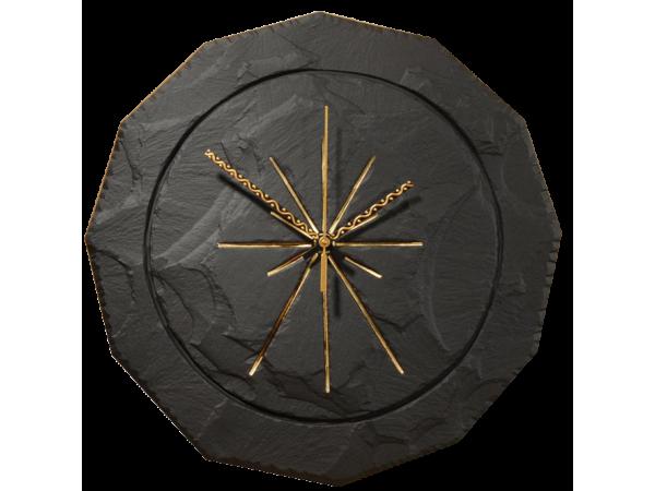 "Slate round clock black 11½"""
