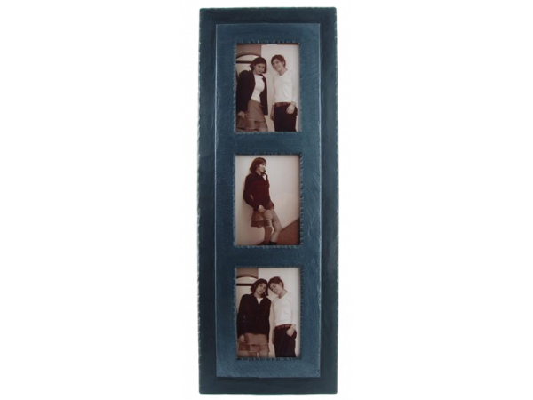 "Slate Triple Photo Frame 7""x5"" Portrait in Portrait Charcoal Band"