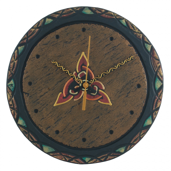 round slate clock with celtic trinity
