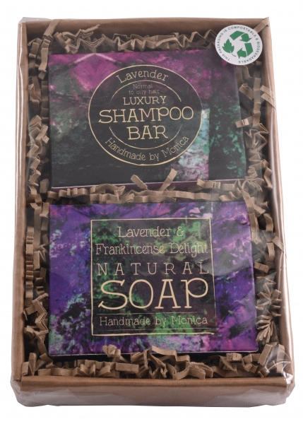 Lavender Delight natural soap and shampoo bar gift set