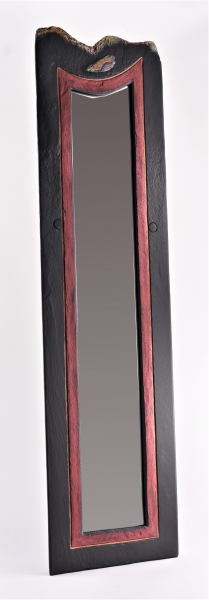 Portrait slate mirror with red band