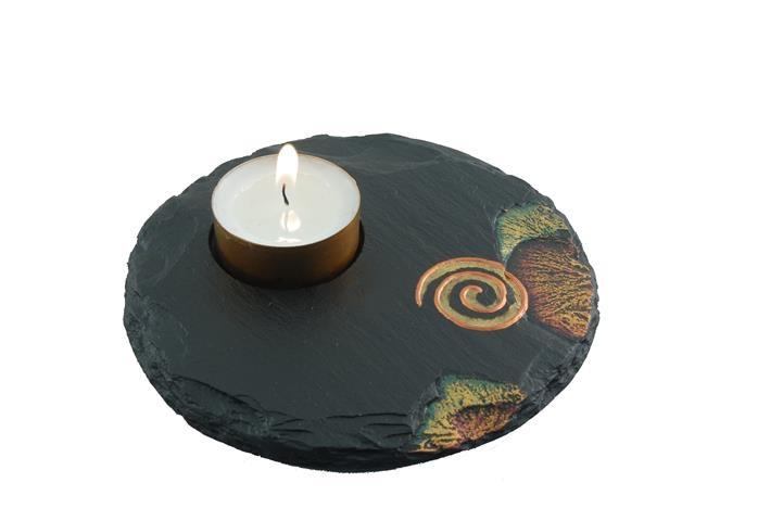 slate tealight celtic spiral