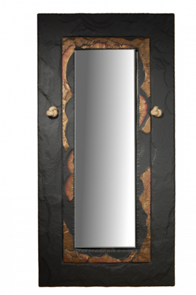 slate rectangular mirror gold edge