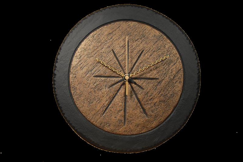 slate round clock with bronze