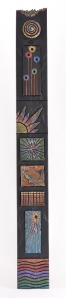 Totem with flowers on slate