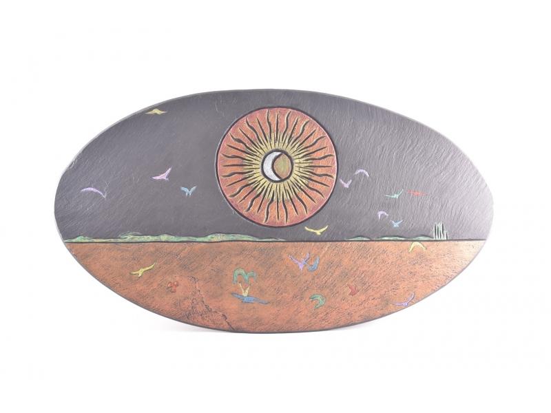 slate oval art piece
