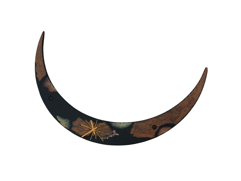 Slate crescent moon clock on its back