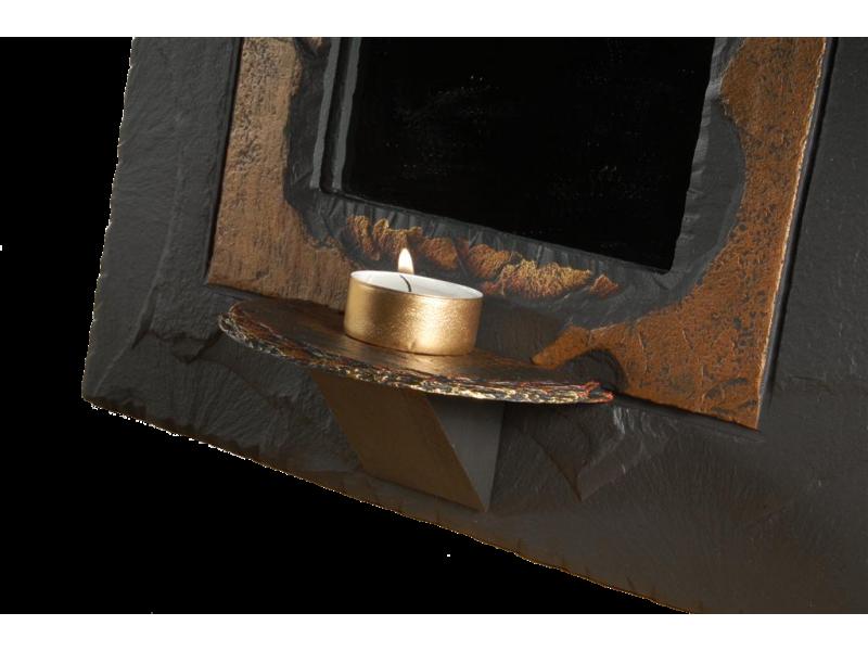 slate mirror with tealight holder