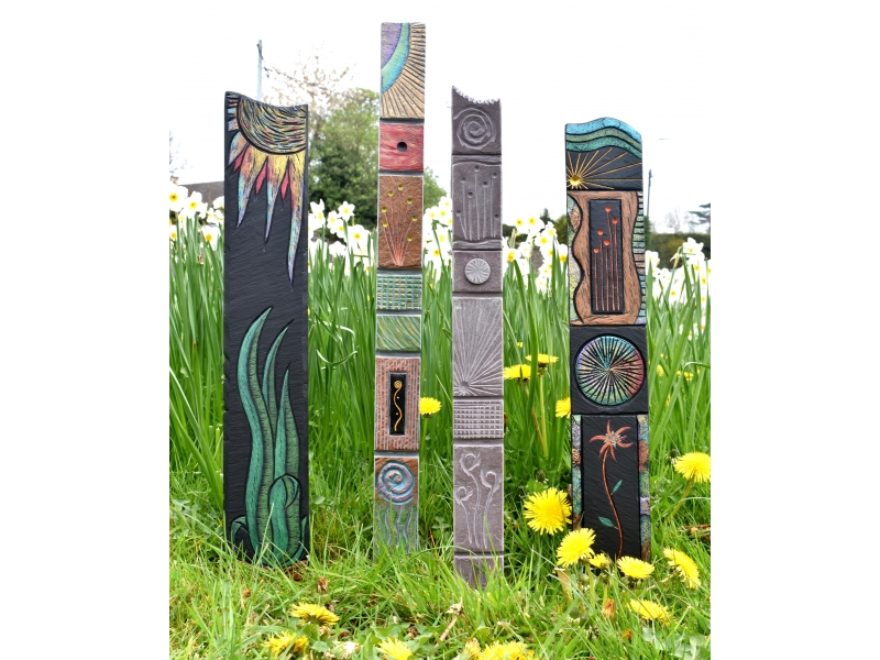 Garden art in slate