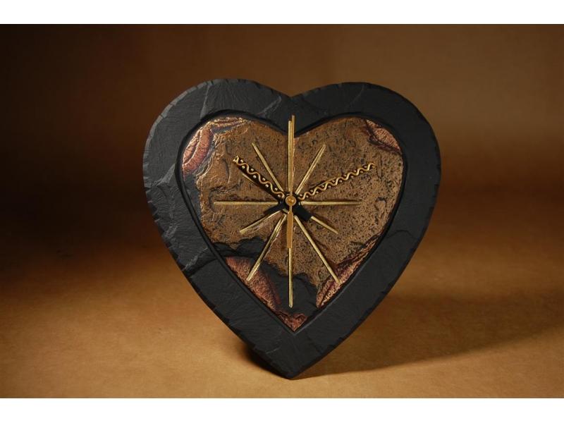 heart shaped slate clock