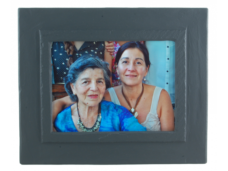 Slate picture frame with colour photo