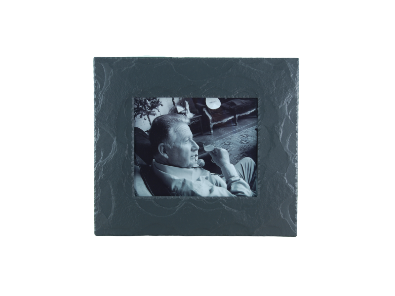 slate picture frame with black and white photo