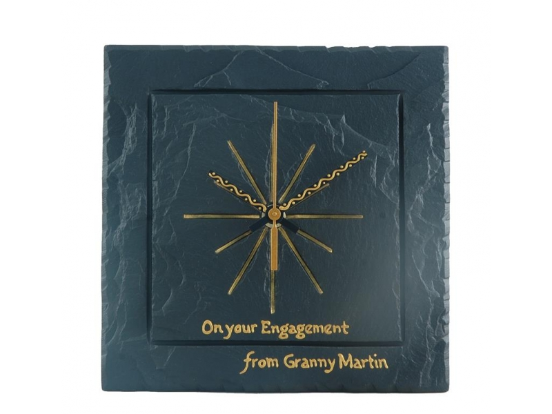 Handwritten inscription on a slate handmade clock