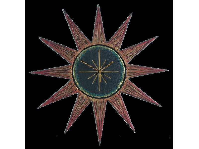 sun-clock-red-rays-black-gren-face