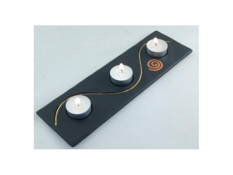 Tealight Holder Slate with Celtic Spiral
