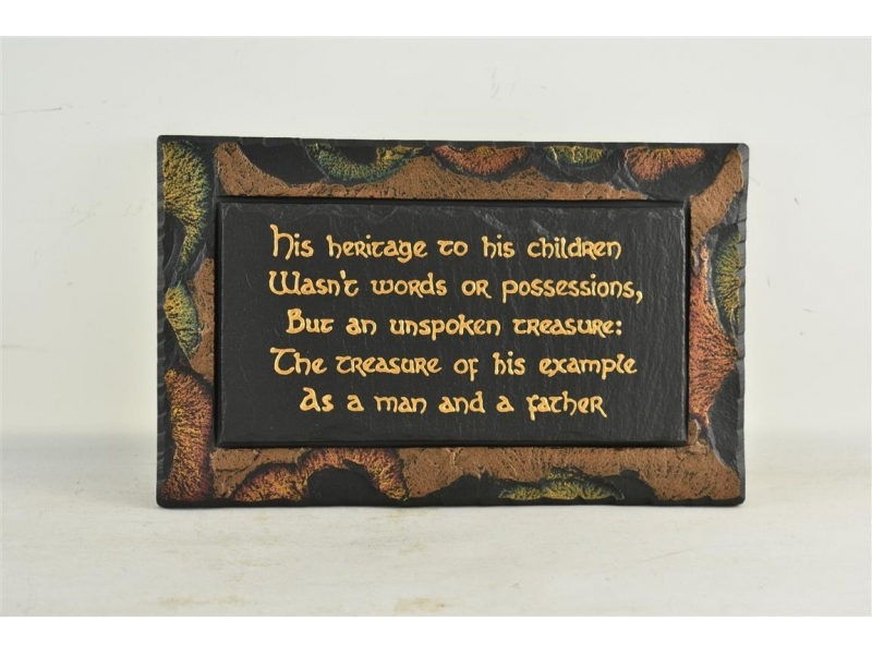 Slate plaque with sentimental wording